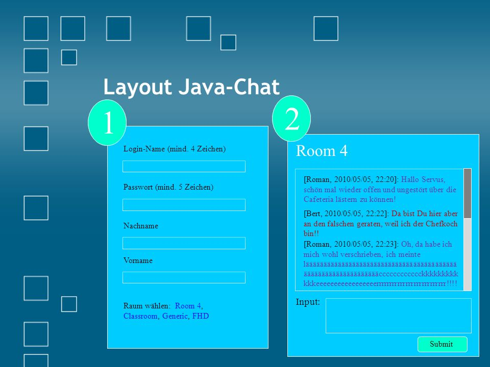 Layout Java-Chat Login-Name (mind. 4 Zeichen) Passwort (mind.
