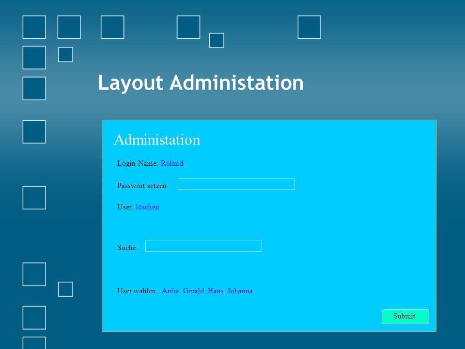 Layout Administation Login-Name: Roland Passwort setzen: User: löschen Suche: User wählen: Anita, Gerald, Hans, Johanna Administation Submit