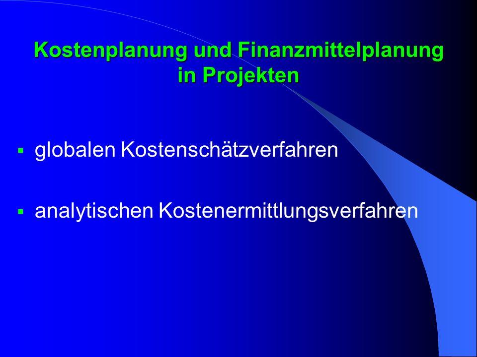 Globale Schätzverfahren in der Kostenplanung Ziele:  Rasche einfache Grobschätzung der Projektkosten Vorgehensschritte:  Definition von Schätzkriterien (Parameter,Kennzahlen)  Schätzung der Projektkosten anhand dieser Kriterien