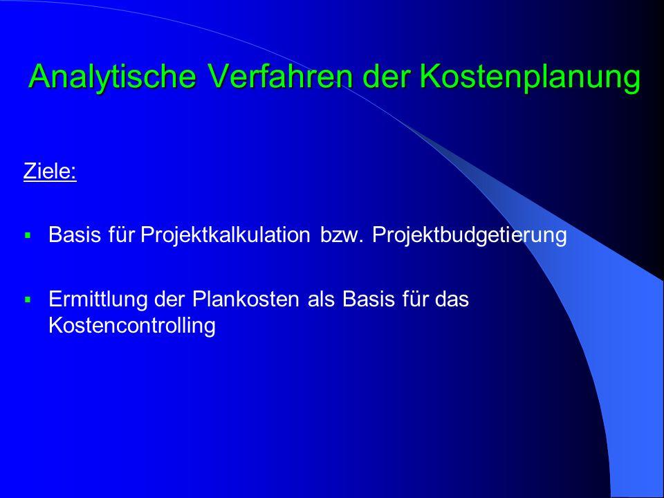 Analytische Verfahren der Kostenplanung Ziele:  Basis für Projektkalkulation bzw. Projektbudgetierung  Ermittlung der Plankosten als Basis für das K