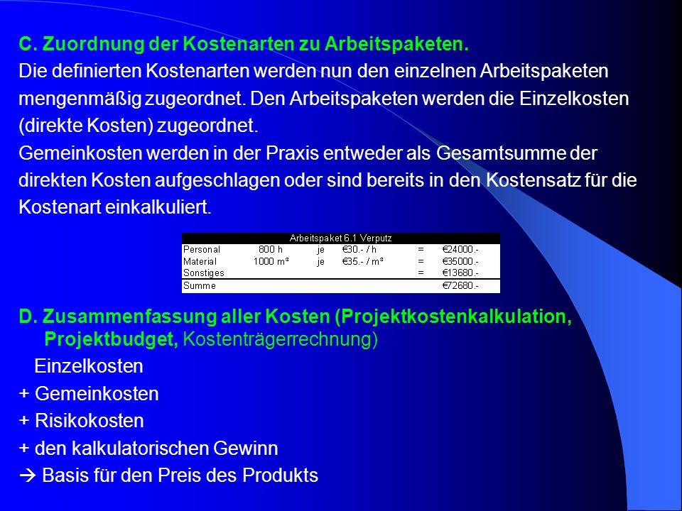 Kostenplanung  Kosten je Arbeitspaket  Kosten je Kostenart  Verteilung der Kosten über den Zeitablauf als Ganglinie (Histogramm)  Kostenzuwachs über den Zeitablauf (Summenkurve)