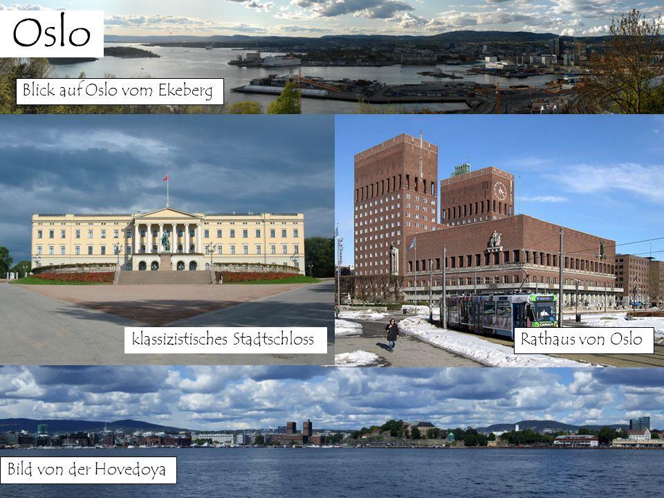Oslo Blick auf Oslo vom Ekeberg Bild von der Hovedoya Rathaus von Oslo klassizistisches Stadtschloss