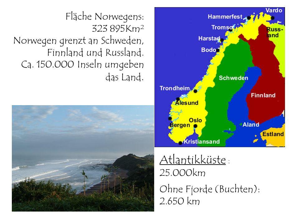 Fläche Norwegens: 323 895Km² Norwegen grenzt an Schweden, Finnland und Russland. Ca. 150.000 Inseln umgeben das Land. Atlantikküste : 25.000km Ohne Fj