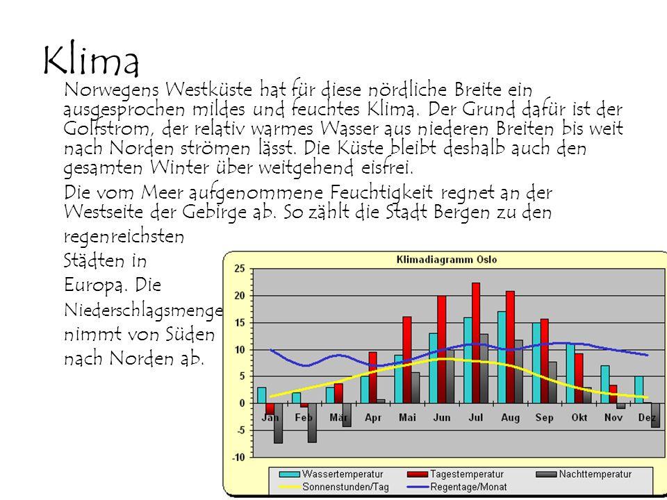 Klima Norwegens Westküste hat für diese nördliche Breite ein ausgesprochen mildes und feuchtes Klima. Der Grund dafür ist der Golfstrom, der relativ w