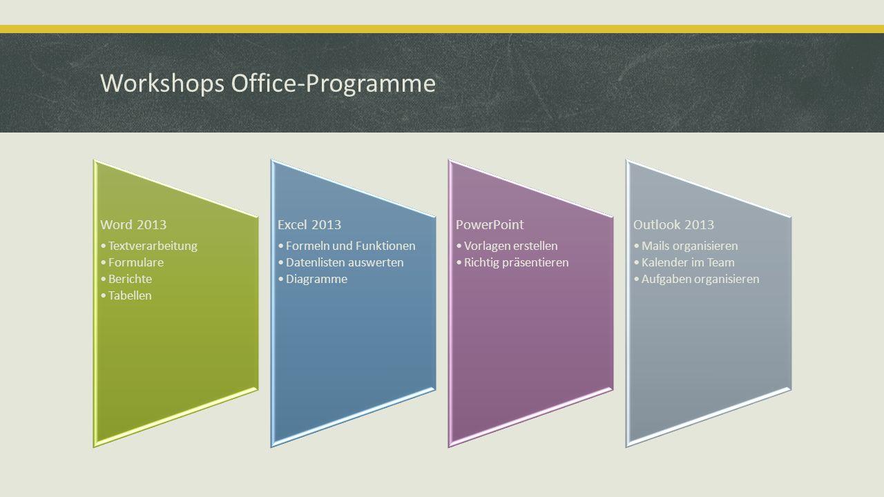Workshops Office-Programme Word 2013 Textverarbeitung Formulare Berichte Tabellen Excel 2013 Formeln und Funktionen Datenlisten auswerten Diagramme Po