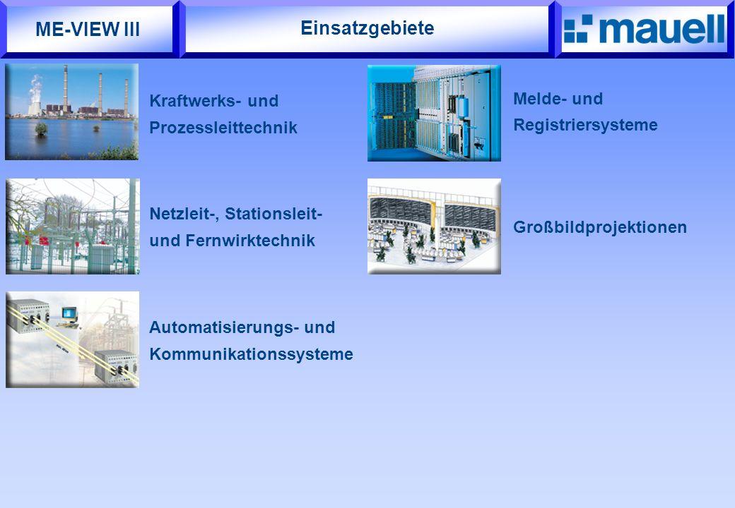 Großbildprojektionen Einsatzgebiete Kraftwerks- und Prozessleittechnik Netzleit-, Stationsleit- und Fernwirktechnik Melde- und Registriersysteme Autom