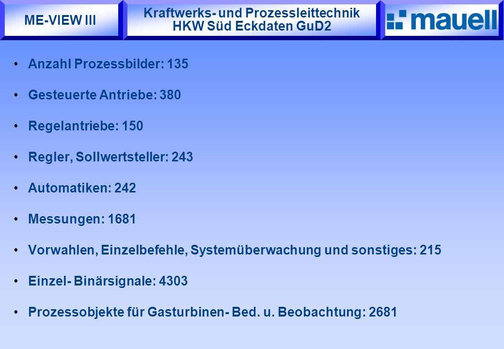 Kraftwerks- und Prozessleittechnik HKW Süd Eckdaten GuD2 Anzahl Prozessbilder: 135 Gesteuerte Antriebe: 380 Regelantriebe: 150 Regler, Sollwertsteller