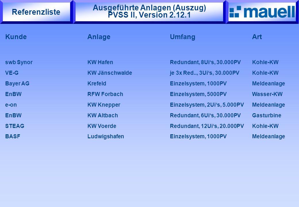 Ausgeführte Anlagen (Auszug) PVSS II, Version 2.12.1 KundeAnlageUmfangArt swb Synor KW HafenRedundant, 8Ui's, 30.000PVKohle-KW VE-GKW Jänschwaldeje 3x