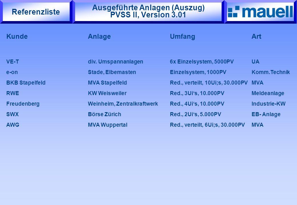 Ausgeführte Anlagen (Auszug) PVSS II, Version 3.01 KundeAnlageUmfangArt VE-T div. Umspannanlagen6x Einzelsystem, 5000PV UA e-onStade, ElbemastenEinzel