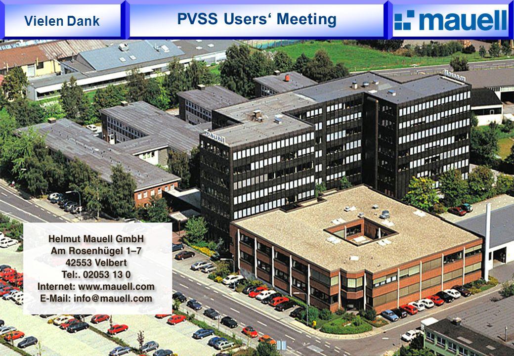 PVSS Users' Meeting Vielen Dank