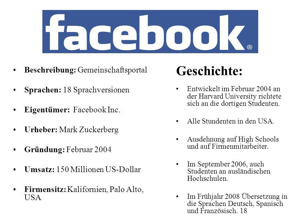 Beschreibung: Gemeinschaftsportal Sprachen: 18 Sprachversionen Eigentümer: Facebook Inc.