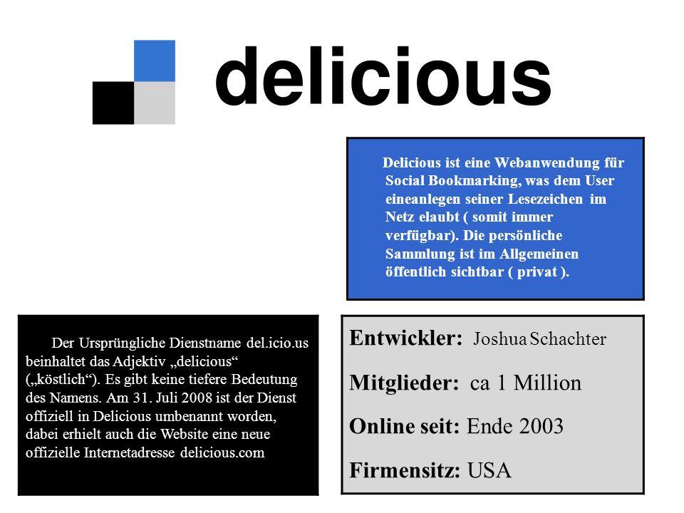 """Der Ursprüngliche Dienstname del.icio.us beinhaltet das Adjektiv """"delicious (""""köstlich )."""