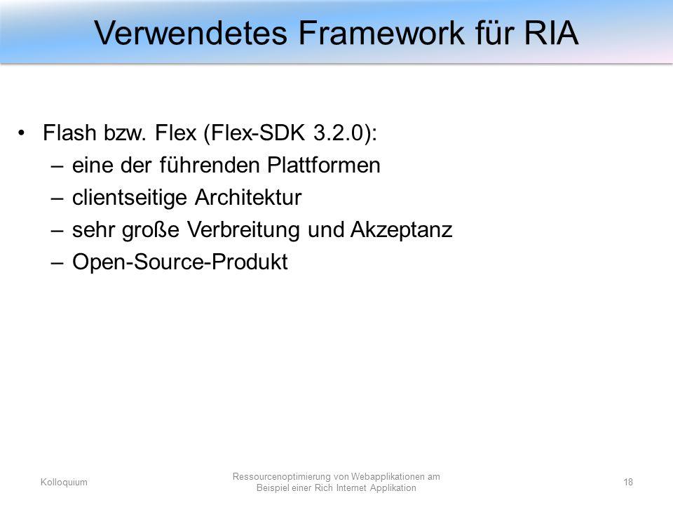 Flash bzw. Flex (Flex-SDK 3.2.0): –eine der führenden Plattformen –clientseitige Architektur –sehr große Verbreitung und Akzeptanz –Open-Source-Produk