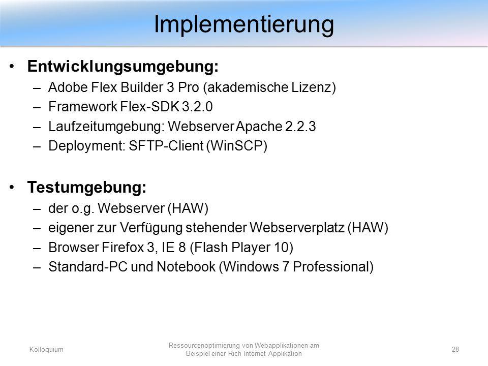 Entwicklungsumgebung: –Adobe Flex Builder 3 Pro (akademische Lizenz) –Framework Flex-SDK 3.2.0 –Laufzeitumgebung: Webserver Apache 2.2.3 –Deployment: SFTP-Client (WinSCP) Testumgebung: –der o.g.