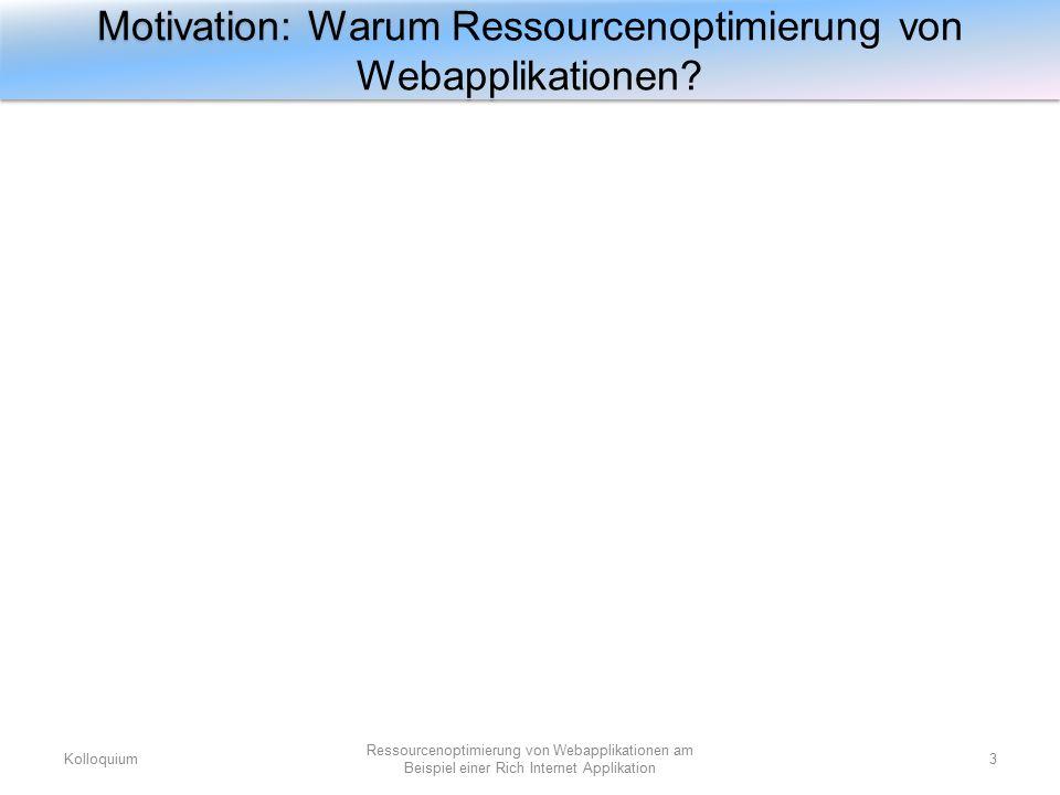 Ressourcen- Vorstellung und Betrachtung von ressourcenaufwendigen Webapplikationen Erarbeitung der Ressourcenoptimierung von Webapplikationen Analyse der erarbeiteten Ressourcenoptimierungsmöglichkeit am Beispiel einer RIA (Anziehanwendung) Entwurf dieser Webapplikation anhand der Analyse, sowie prototypische Umsetzung des Entwurfs zwecks Überprüfung der Realisierbarkeit Ziele der Arbeit Kolloquium4 Ressourcenoptimierung von Webapplikationen am Beispiel einer Rich Internet Applikation