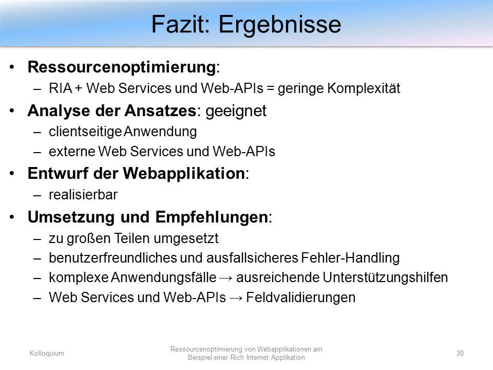 Ressourcenoptimierung: –RIA + Web Services und Web-APIs = geringe Komplexität Analyse der Ansatzes: geeignet –clientseitige Anwendung –externe Web Ser
