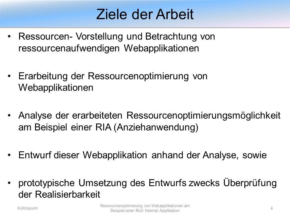 Ressourcen- Vorstellung und Betrachtung von ressourcenaufwendigen Webapplikationen Erarbeitung der Ressourcenoptimierung von Webapplikationen Analyse