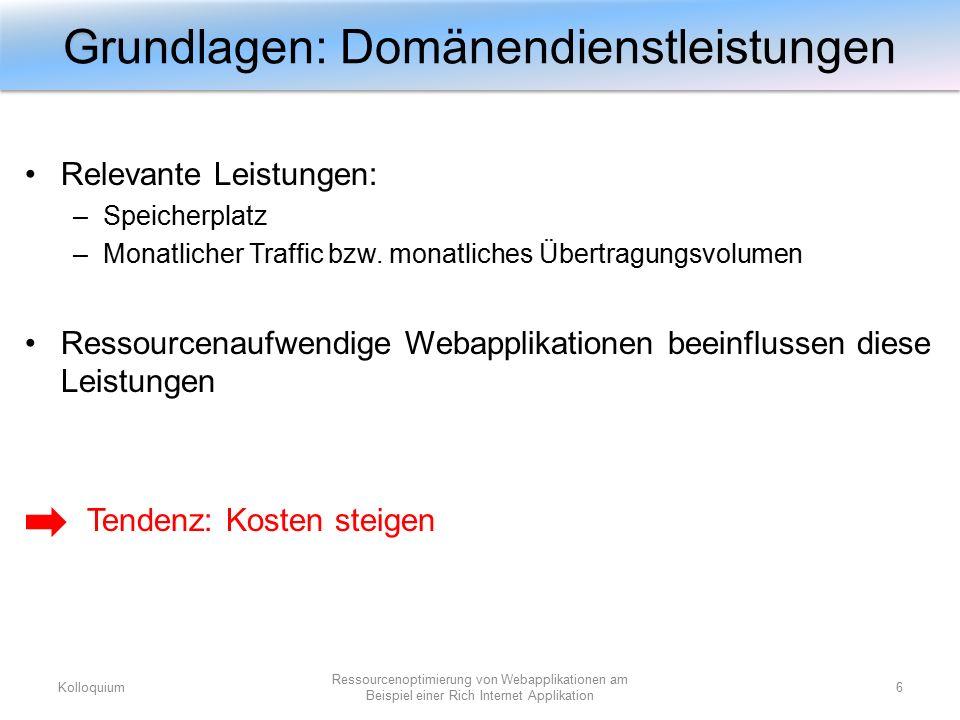 Relevante Leistungen: –Speicherplatz –Monatlicher Traffic bzw. monatliches Übertragungsvolumen Ressourcenaufwendige Webapplikationen beeinflussen dies