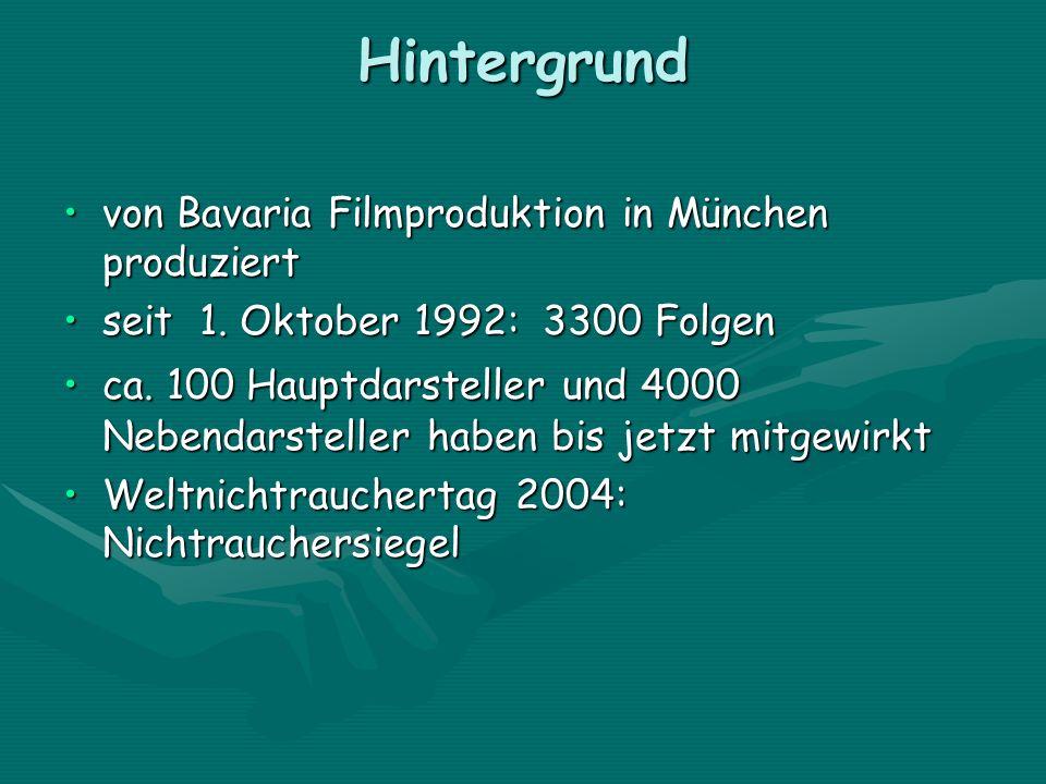 Hintergrund von Bavaria Filmproduktion in München produziertvon Bavaria Filmproduktion in München produziert seit 1. Oktober 1992: 3300 Folgenseit 1.