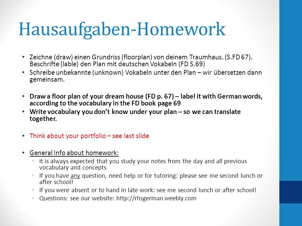 Hausaufgaben-Homework Zeichne (draw) einen Grundriss (floorplan) von deinem Traumhaus.