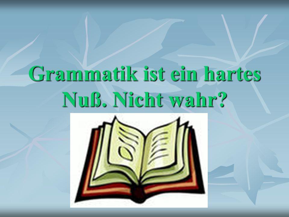 Grammatik ist ein hartes Nuß. Nicht wahr?