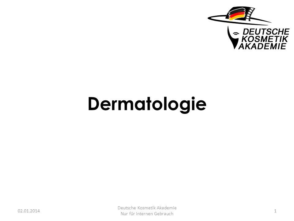 Dermatologie 02.01.20141 Deutsche Kosmetik Akademie Nur für internen Gebrauch