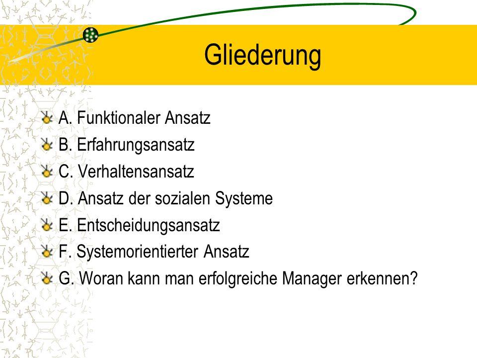 Gliederung A. Funktionaler Ansatz B. Erfahrungsansatz C. Verhaltensansatz D. Ansatz der sozialen Systeme E. Entscheidungsansatz F. Systemorientierter