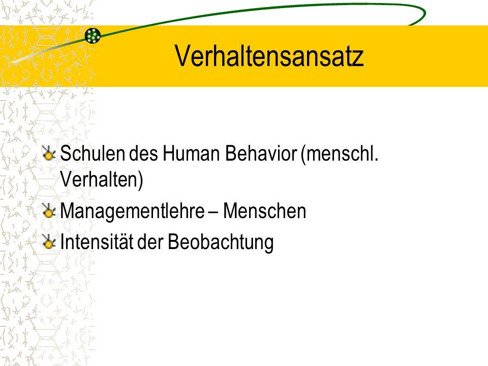 Verhaltensansatz Schulen des Human Behavior (menschl.