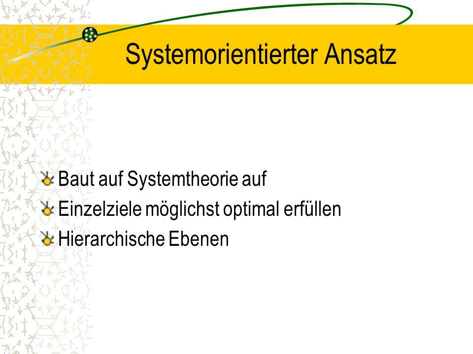 Systemorientierter Ansatz Baut auf Systemtheorie auf Einzelziele möglichst optimal erfüllen Hierarchische Ebenen
