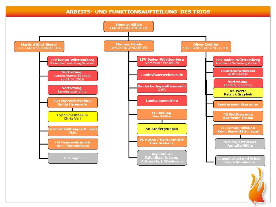 ARBEITS- UND FUNKTIONSAUFTEILUNG DES TRIOS Thomas Häfele LANDESJUGENDLEITER Martin Stürzl-Rieger STV. LANDESJUGENDLEITER Oliver Zwölfer STV. LANDESJUG