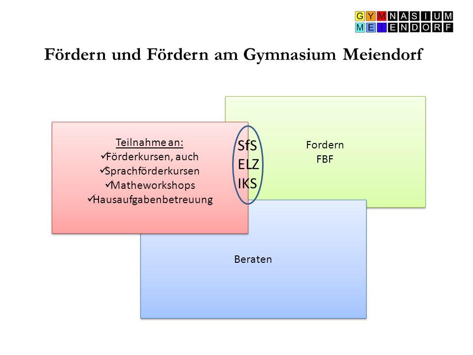 Fördern und Fördern am Gymnasium Meiendorf Fordern FBF Fordern FBF Beraten Teilnahme an: Förderkursen, auch Sprachförderkursen Matheworkshops Hausaufg