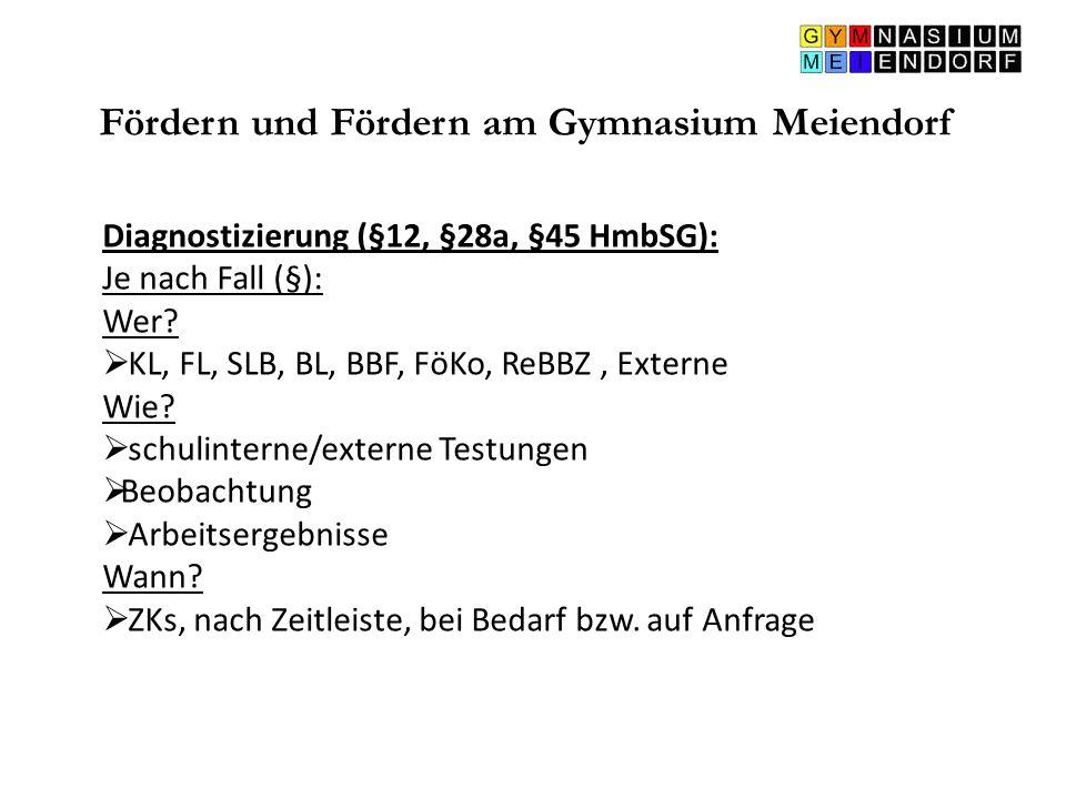 Fördern und Fördern am Gymnasium Meiendorf Diagnostizierung (§12, §28a, §45 HmbSG): Je nach Fall (§): Wer?  KL, FL, SLB, BL, BBF, FöKo, ReBBZ, Extern