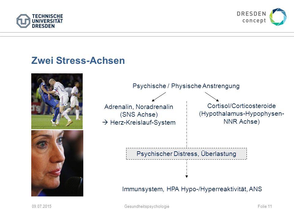 Zwei Stress-Achsen 09.07.2015Gesundheitspsychologie Psychische / Physische Anstrengung Adrenalin, Noradrenalin (SNS Achse)  Herz-Kreislauf-System Cor