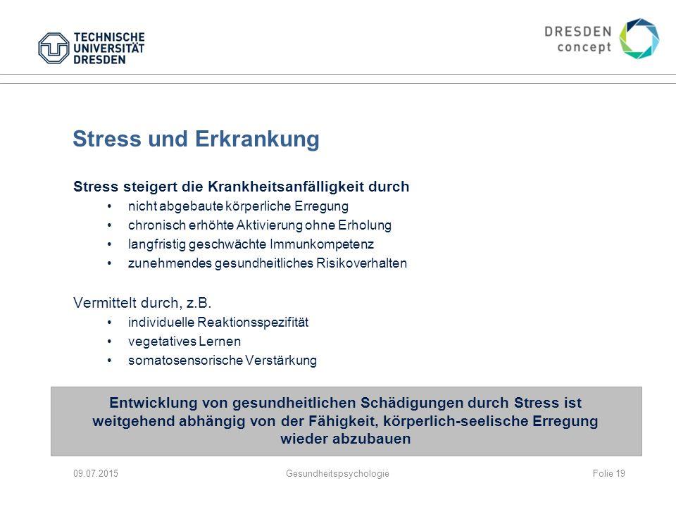 Stress und Erkrankung Stress steigert die Krankheitsanfälligkeit durch nicht abgebaute körperliche Erregung chronisch erhöhte Aktivierung ohne Erholun