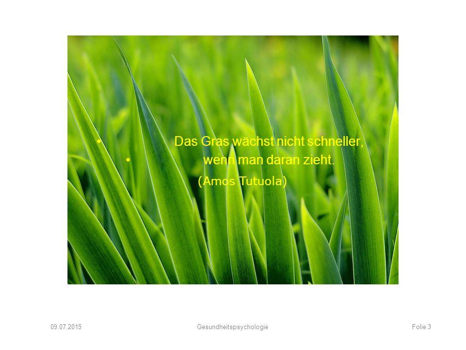 Das Gras wächst nicht schneller, wenn man daran zieht. 09.07.2015Gesundheitspsychologie (Amos Tutuola) Folie 3