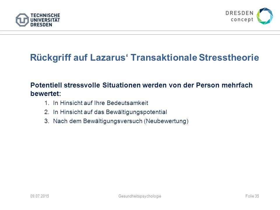 Rückgriff auf Lazarus' Transaktionale Stresstheorie Potentiell stressvolle Situationen werden von der Person mehrfach bewertet: 1.In Hinsicht auf Ihre