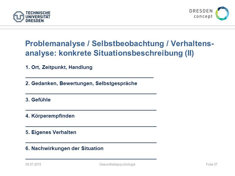 Problemanalyse / Selbstbeobachtung / Verhaltens- analyse: konkrete Situationsbeschreibung (II) 1. Ort, Zeitpunkt, Handlung ___________________________