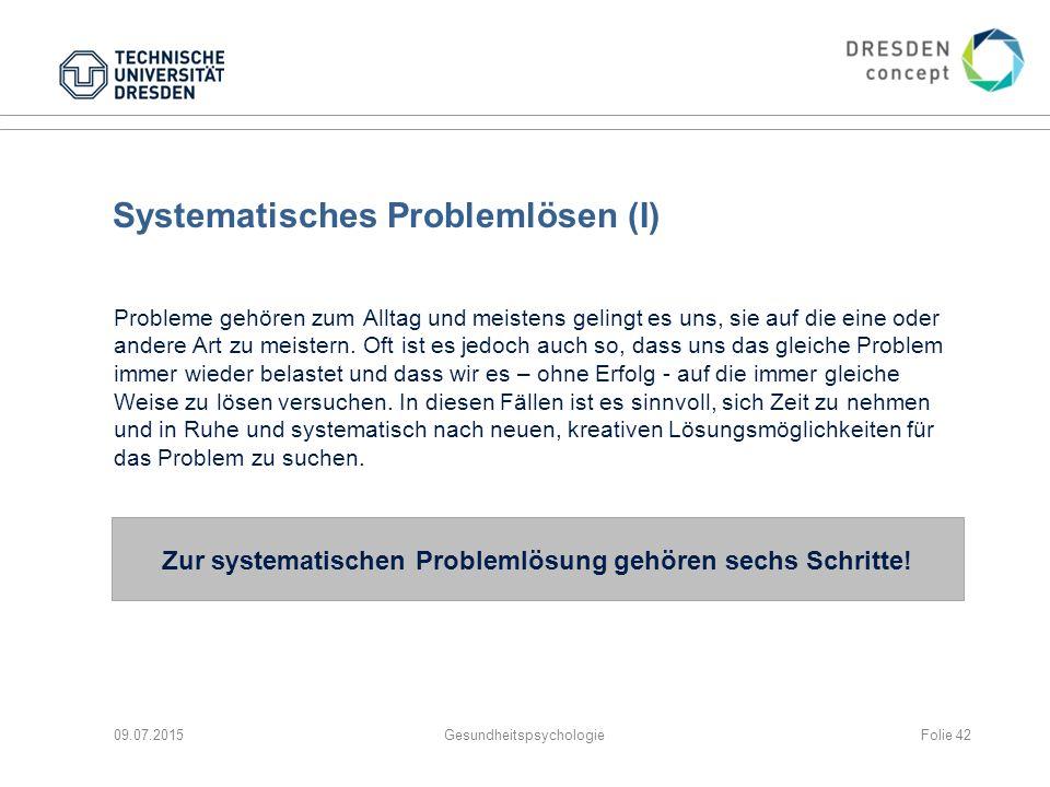 Systematisches Problemlösen (I) Probleme gehören zum Alltag und meistens gelingt es uns, sie auf die eine oder andere Art zu meistern. Oft ist es jedo