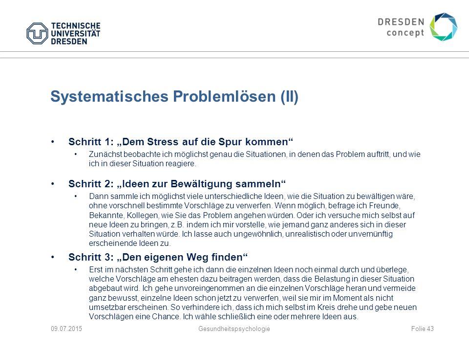"""Systematisches Problemlösen (II) Schritt 1: """"Dem Stress auf die Spur kommen"""" Zunächst beobachte ich möglichst genau die Situationen, in denen das Prob"""