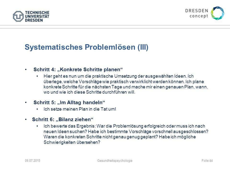"""Systematisches Problemlösen (III) Schritt 4: """"Konkrete Schritte planen"""" Hier geht es nun um die praktische Umsetzung der ausgewählten Ideen. Ich überl"""