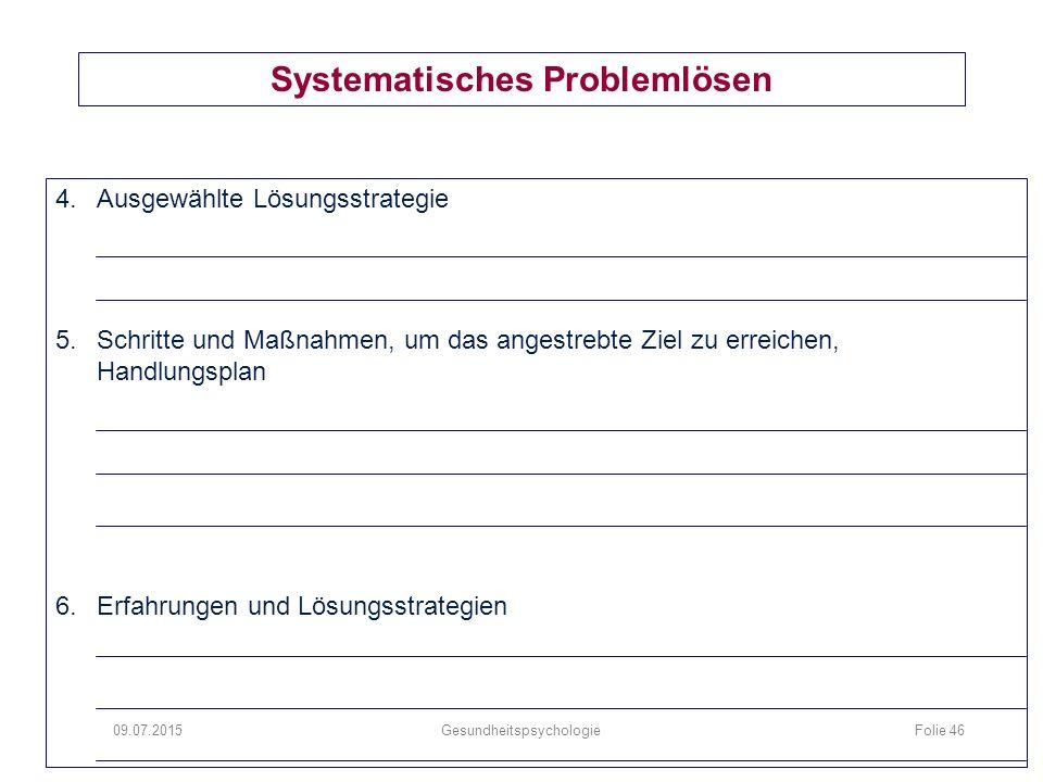 Systematisches Problemlösen 4.Ausgewählte Lösungsstrategie 5.Schritte und Maßnahmen, um das angestrebte Ziel zu erreichen, Handlungsplan 6.Erfahrungen