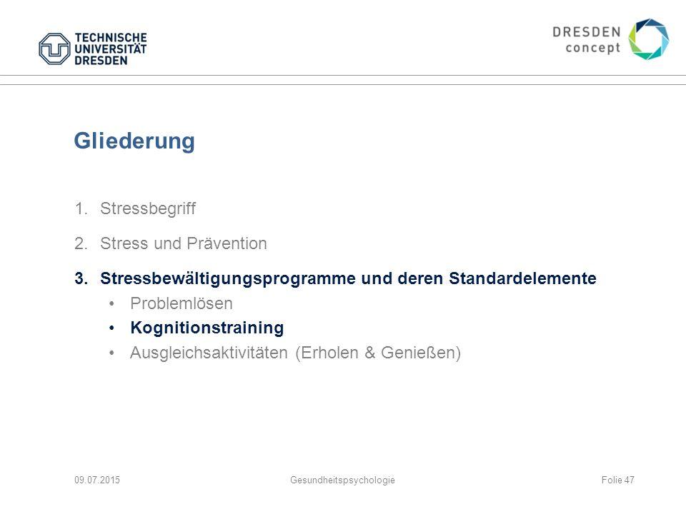 Gliederung 1.Stressbegriff 2.Stress und Prävention 3.Stressbewältigungsprogramme und deren Standardelemente Problemlösen Kognitionstraining Ausgleichs