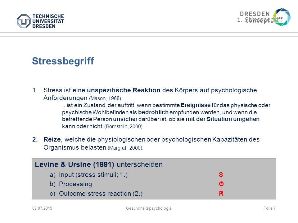 Gliederung 1.Stressbegriff 2.Stress und Prävention 3.Stressbewältigungsprogramme und deren Standardelemente Problemlösen Kognitionstraining Ausgleichsaktivitäten (Erholen & Genießen) 09.07.2015GesundheitspsychologieFolie 18