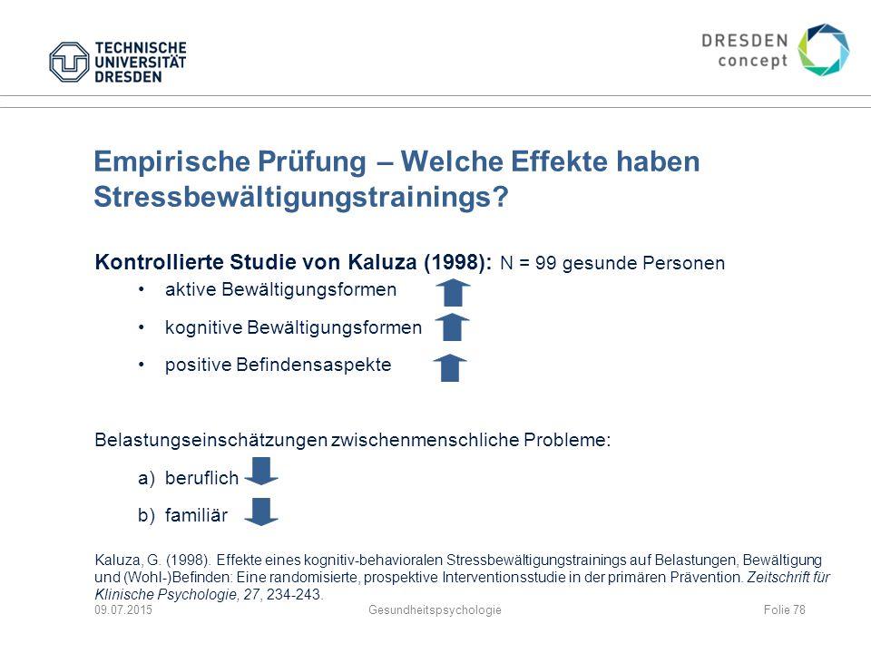 Empirische Prüfung – Welche Effekte haben Stressbewältigungstrainings? Kontrollierte Studie von Kaluza (1998): N = 99 gesunde Personen aktive Bewältig