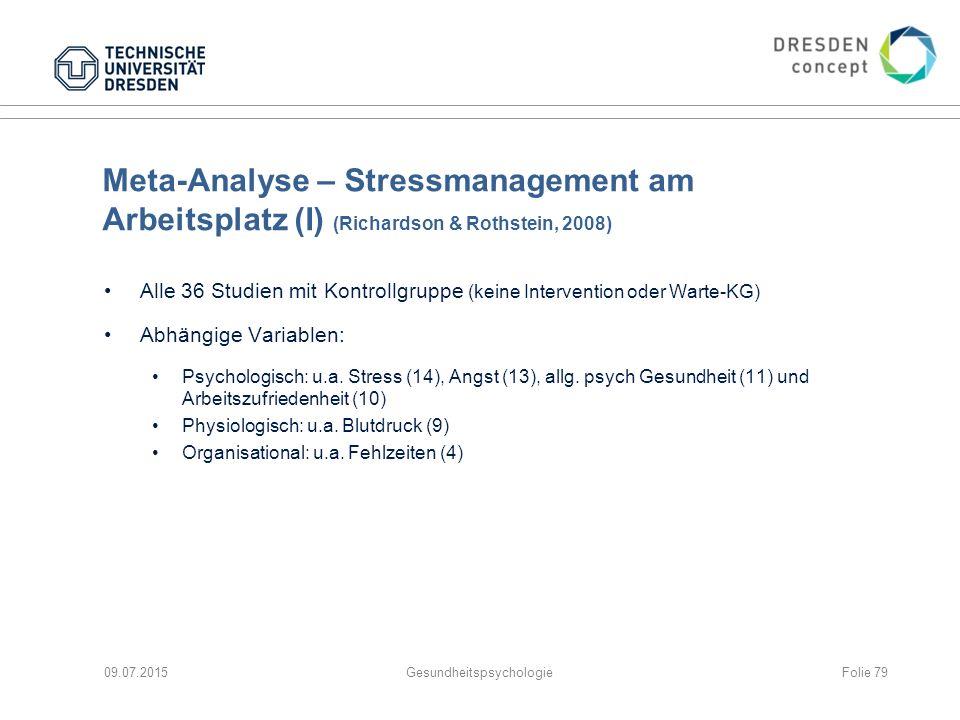 Meta-Analyse – Stressmanagement am Arbeitsplatz (I) (Richardson & Rothstein, 2008) Alle 36 Studien mit Kontrollgruppe (keine Intervention oder Warte-K