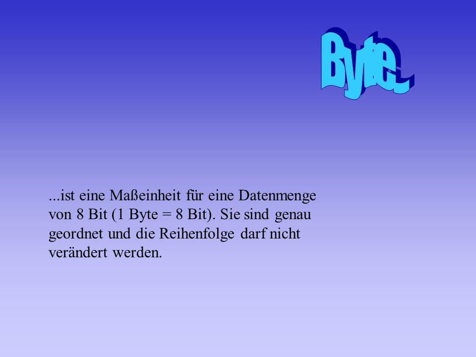...ist eine Maßeinheit für eine Datenmenge von 8 Bit (1 Byte = 8 Bit).