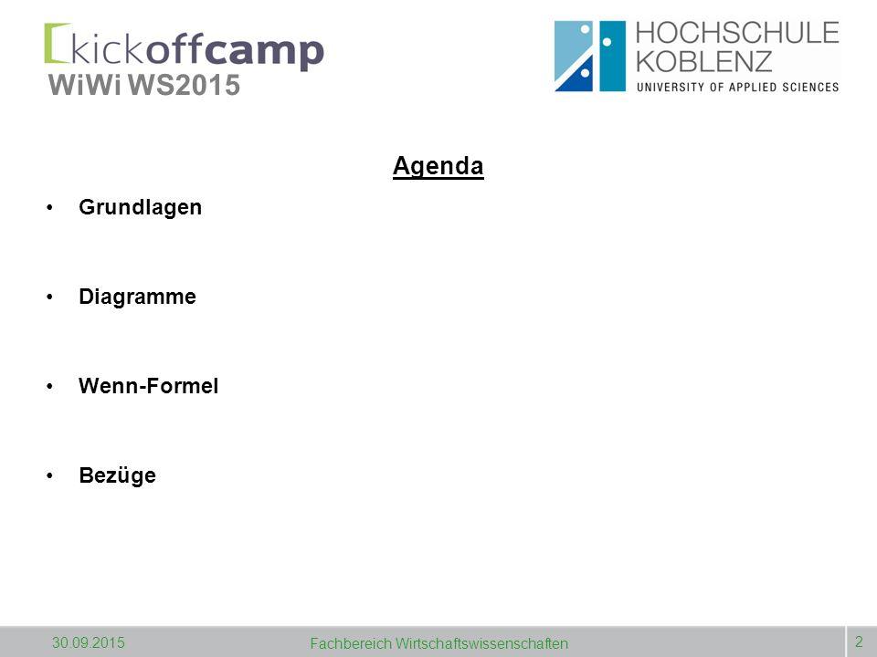 WiWi WS2015 Agenda Grundlagen Diagramme Wenn-Formel Bezüge 2 30.09.2015 Fachbereich Wirtschaftswissenschaften