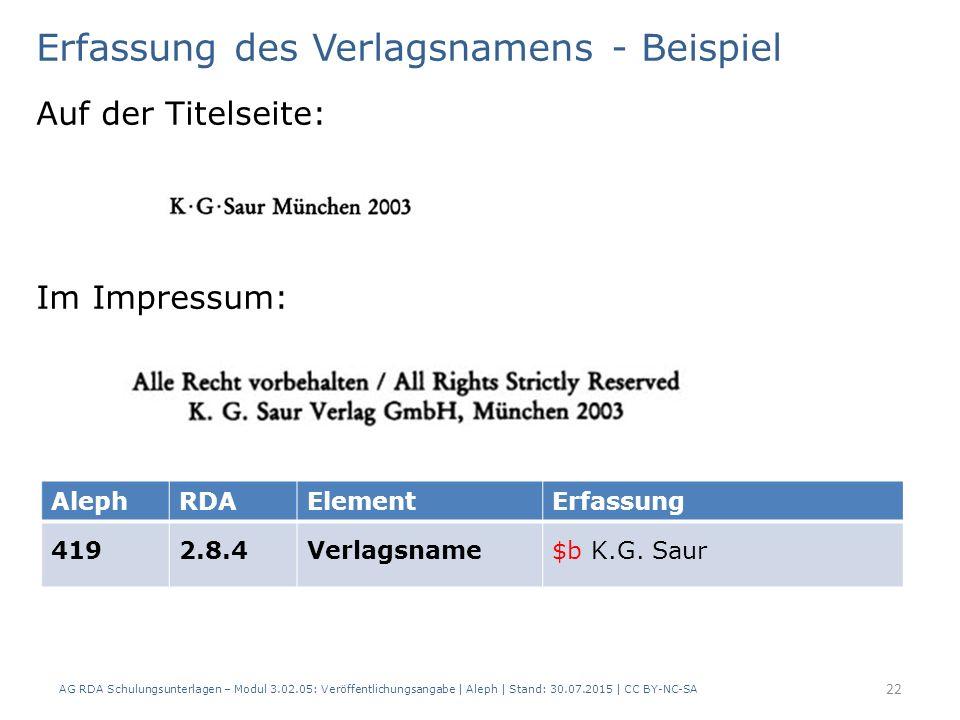 Erfassung des Verlagsnamens - Beispiel Auf der Titelseite: Im Impressum: AlephRDAElementErfassung 4192.8.4Verlagsname$b K.G.