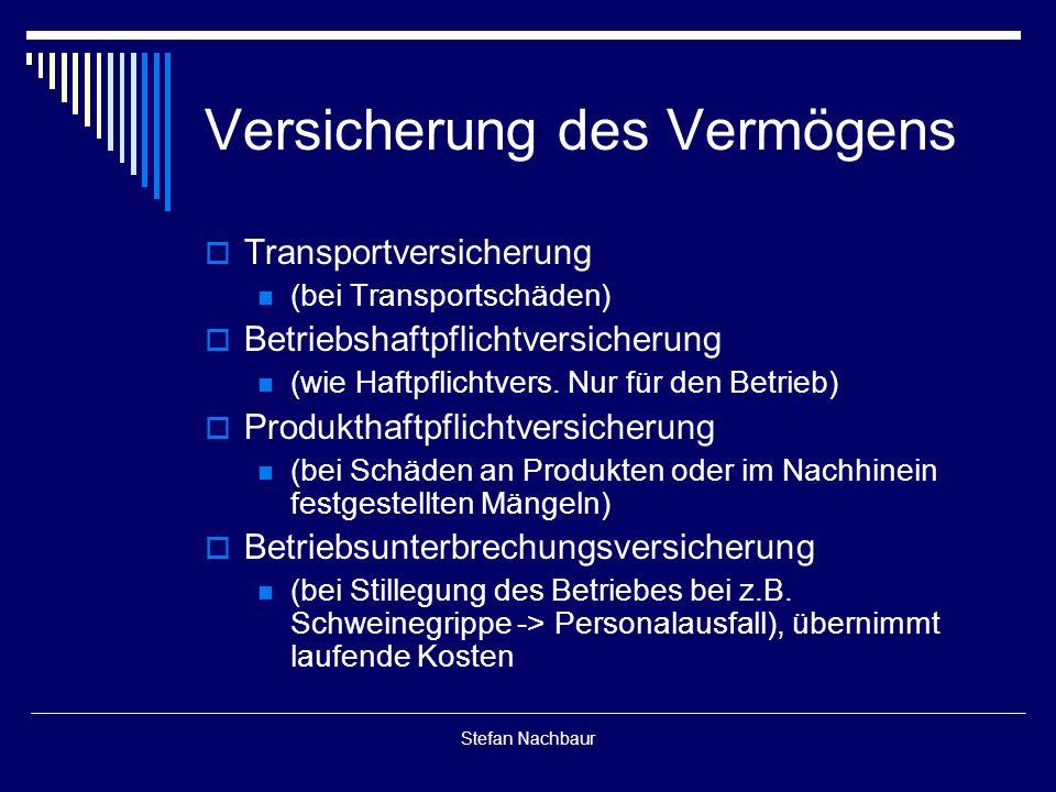 Stefan Nachbaur Versicherung des Vermögens  Transportversicherung (bei Transportschäden)  Betriebshaftpflichtversicherung (wie Haftpflichtvers.