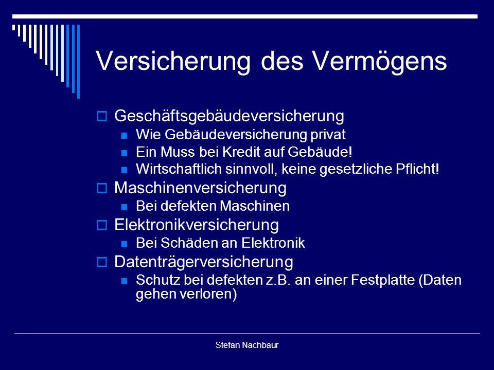 Stefan Nachbaur Versicherung des Vermögens  Geschäftsgebäudeversicherung Wie Gebäudeversicherung privat Ein Muss bei Kredit auf Gebäude.
